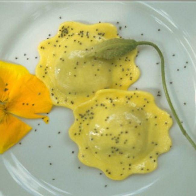 Menu with medicinal herbs and flowers in the restaurant of Casola Valsenio