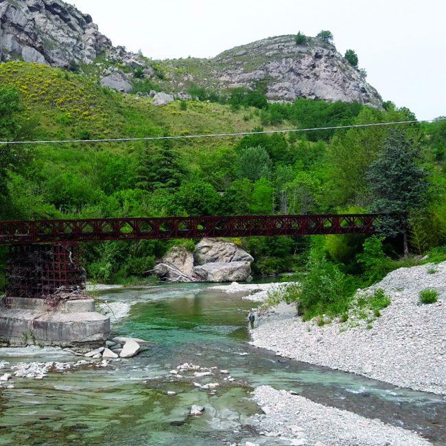 Gypsum and river in Borgo Tossignano
